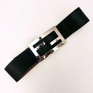 FENDI Logo Belt XL Black Silver Oversized Leather